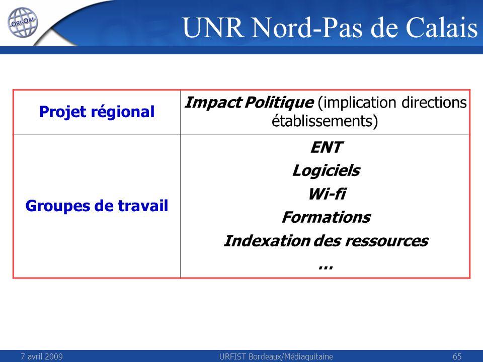 7 avril 2009URFIST Bordeaux/Médiaquitaine65 UNR Nord-Pas de Calais Projet régional Impact Politique (implication directions établissements) Groupes de