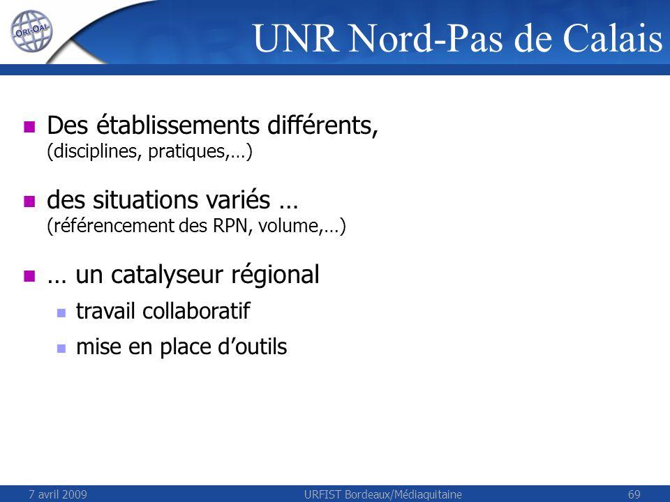 7 avril 2009URFIST Bordeaux/Médiaquitaine69 Des établissements différents, (disciplines, pratiques,…) des situations variés … (référencement des RPN,