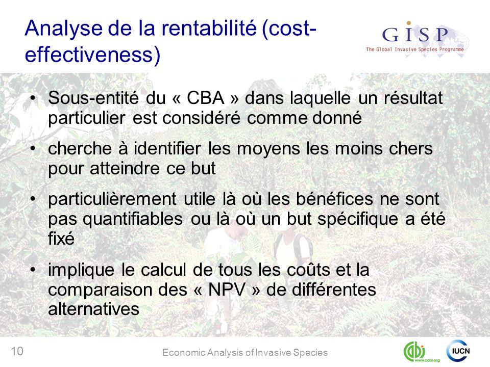 Economic Analysis of Invasive Species 10 Analyse de la rentabilité (cost- effectiveness) Sous-entité du « CBA » dans laquelle un résultat particulier