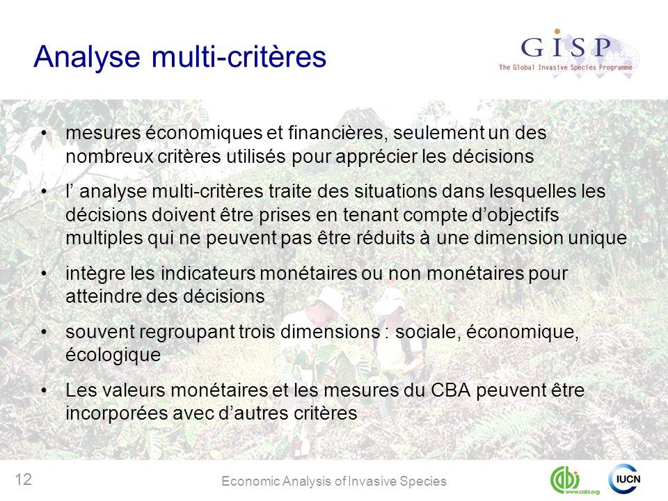 Economic Analysis of Invasive Species 12 Analyse multi-critères mesures économiques et financières, seulement un des nombreux critères utilisés pour a