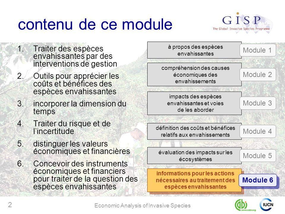 Economic Analysis of Invasive Species 2 contenu de ce module 1.Traiter des espèces envahissantes par des interventions de gestion 2.Outils pour appréc