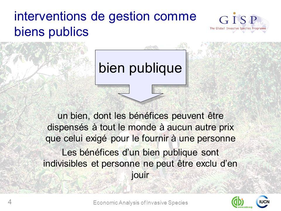 Economic Analysis of Invasive Species 4 interventions de gestion comme biens publics un bien, dont les bénéfices peuvent être dispensés à tout le mond