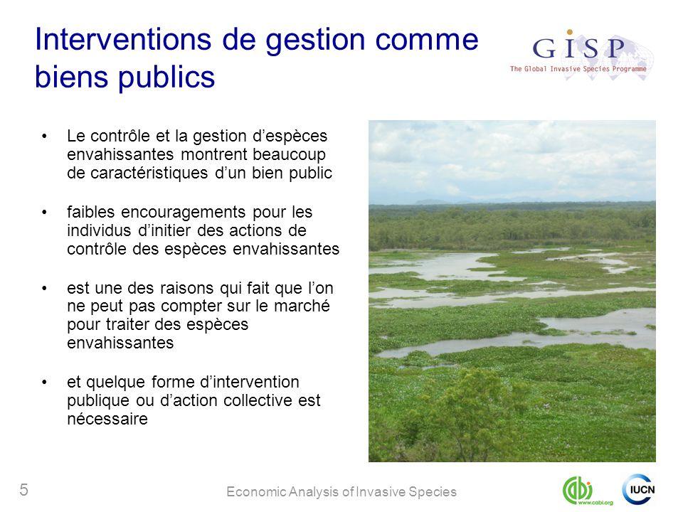 Economic Analysis of Invasive Species 5 Interventions de gestion comme biens publics Le contrôle et la gestion despèces envahissantes montrent beaucou