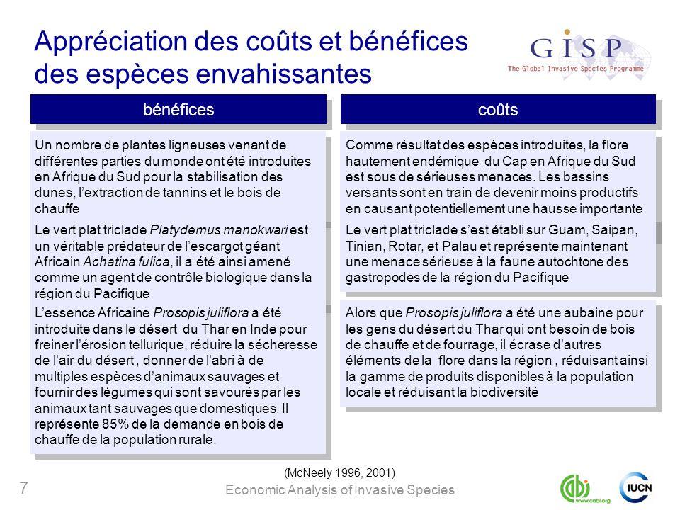 Economic Analysis of Invasive Species 7 Appréciation des coûts et bénéfices des espèces envahissantes bénéfices coûts (McNeely 1996, 2001) Un nombre d