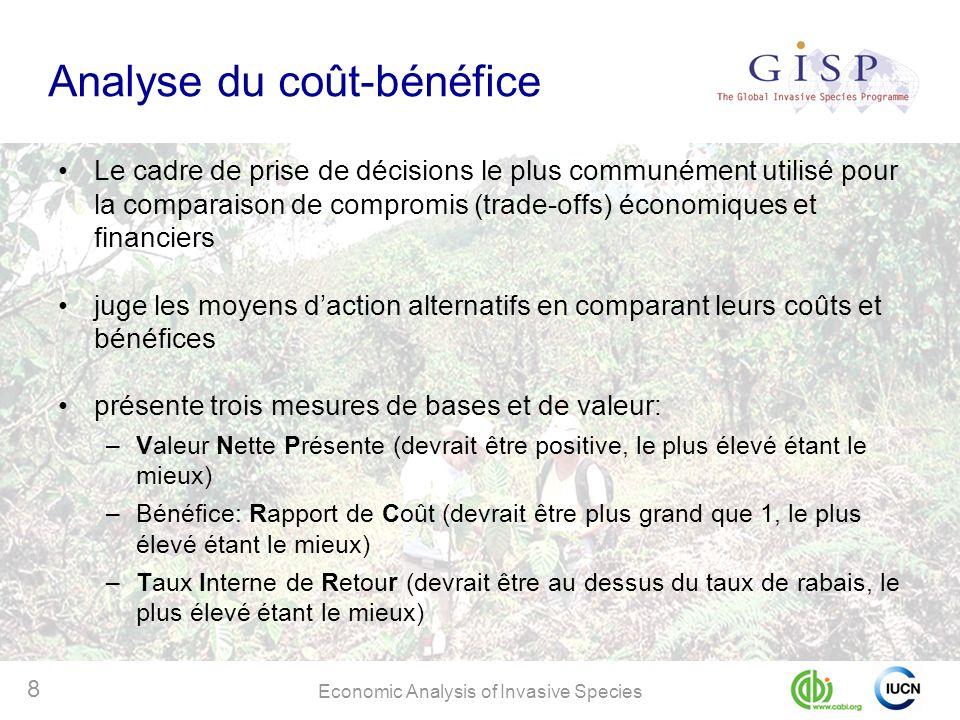 Economic Analysis of Invasive Species 8 Analyse du coût-bénéfice Le cadre de prise de décisions le plus communément utilisé pour la comparaison de com