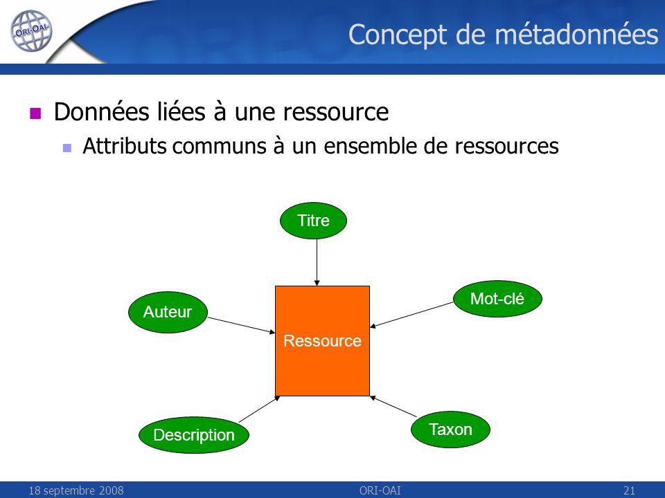 18 septembre 2008ORI-OAI21 Ressource Titre Auteur Description Mot-clé Taxon Concept de métadonnées Données liées à une ressource Attributs communs à un ensemble de ressources