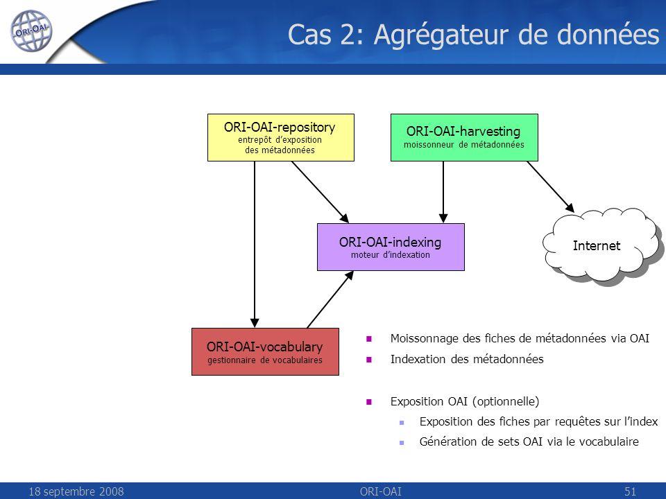 18 septembre 2008ORI-OAI51 Cas 2: Agrégateur de données Internet ORI-OAI-repository entrepôt dexposition des métadonnées ORI-OAI-harvesting moissonneur de métadonnées ORI-OAI-indexing moteur dindexation ORI-OAI-vocabulary gestionnaire de vocabulaires Moissonnage des fiches de métadonnées via OAI Indexation des métadonnées Exposition OAI (optionnelle) Exposition des fiches par requêtes sur lindex Génération de sets OAI via le vocabulaire