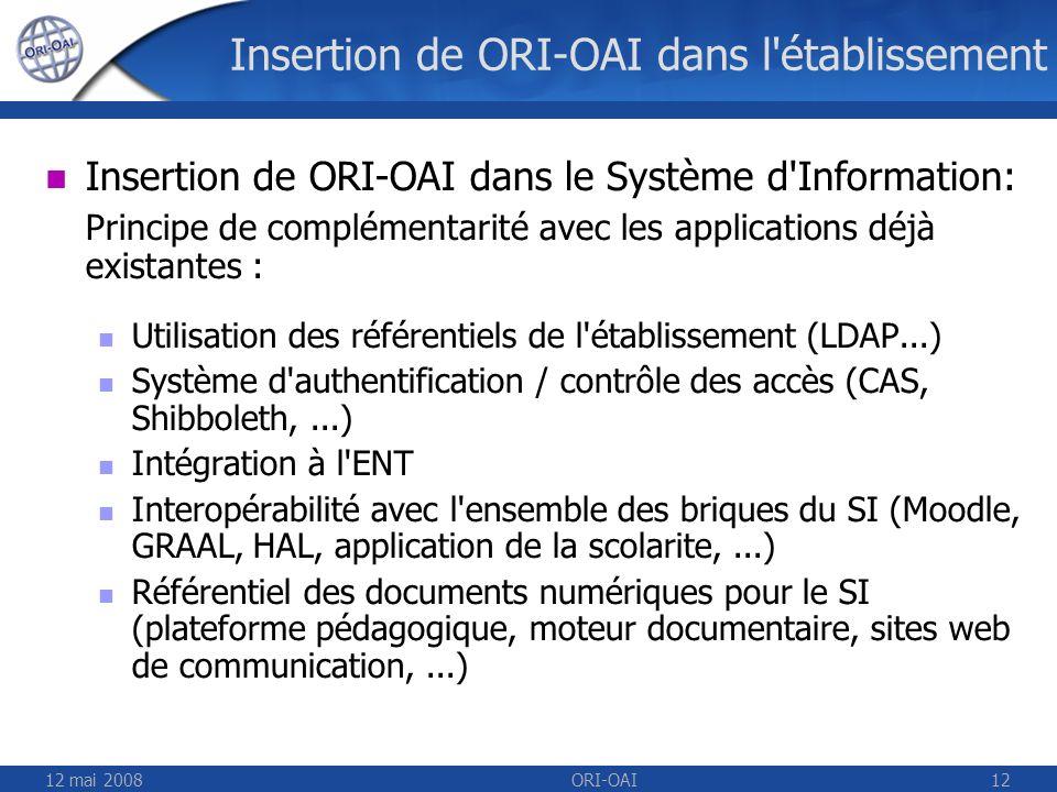 12 mai 2008ORI-OAI12 Insertion de ORI-OAI dans l'établissement Insertion de ORI-OAI dans le Système d'Information: Principe de complémentarité avec le