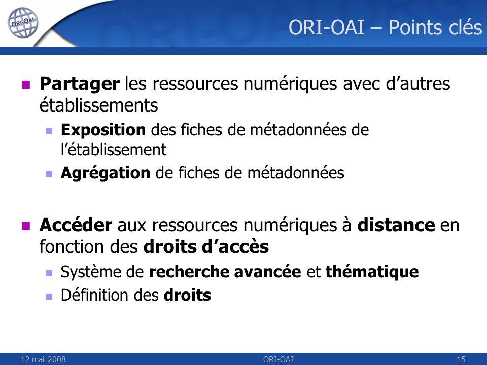 12 mai 2008ORI-OAI15 ORI-OAI – Points clés Partager les ressources numériques avec dautres établissements Exposition des fiches de métadonnées de léta