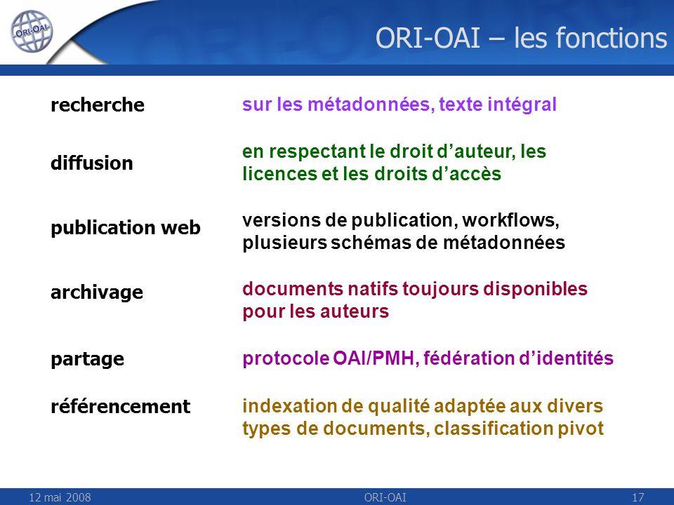 12 mai 2008ORI-OAI17 ORI-OAI – les fonctions indexation de qualité adaptée aux divers types de documents, classification pivot sur les métadonnées, te