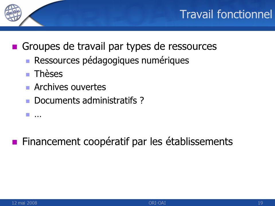 12 mai 2008ORI-OAI19 Travail fonctionnel Groupes de travail par types de ressources Ressources pédagogiques numériques Thèses Archives ouvertes Docume