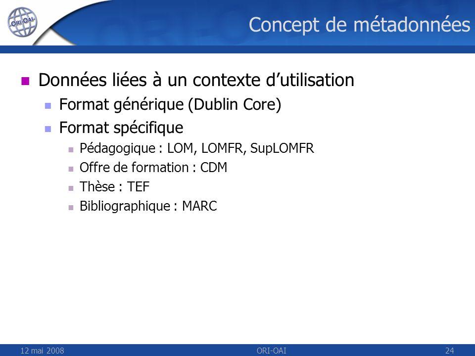 12 mai 2008ORI-OAI24 Concept de métadonnées Données liées à un contexte dutilisation Format générique (Dublin Core) Format spécifique Pédagogique : LO