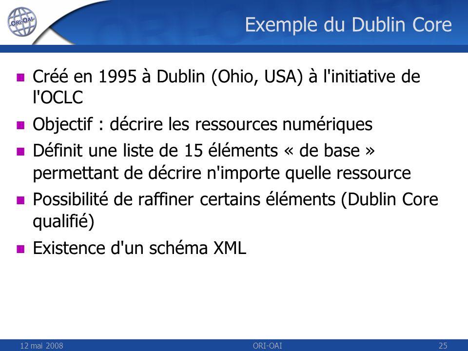 12 mai 2008ORI-OAI25 Exemple du Dublin Core Créé en 1995 à Dublin (Ohio, USA) à l'initiative de l'OCLC Objectif : décrire les ressources numériques Dé