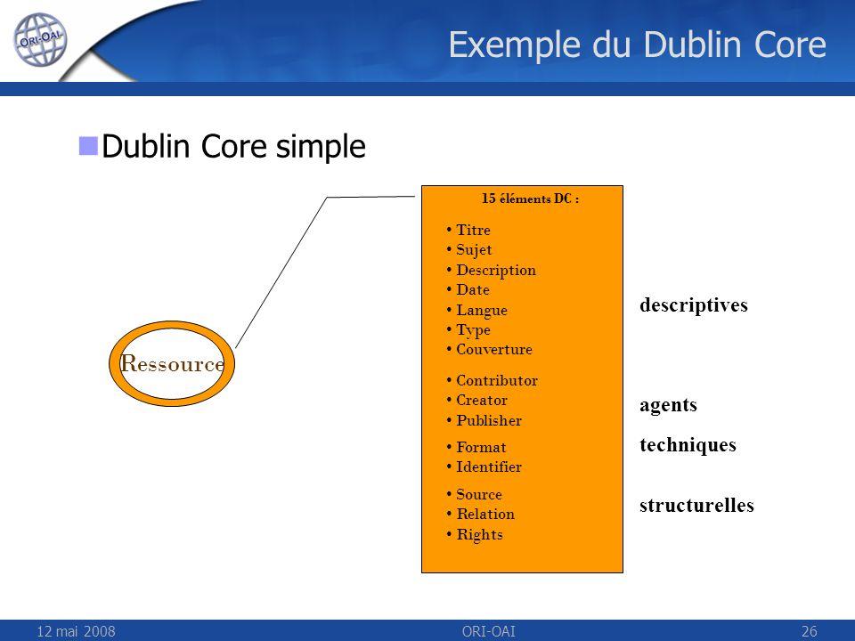 12 mai 2008ORI-OAI26 Exemple du Dublin Core Ressource 15 éléments DC : Titre Sujet Description Date Langue Type Couverture Contributor Creator Publish
