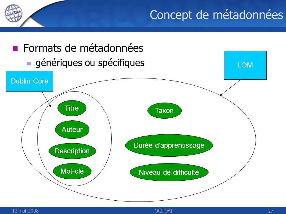 12 mai 2008ORI-OAI27 Concept de métadonnées Formats de métadonnées génériques ou spécifiques Titre Auteur Description Mot-clé Taxon Durée dapprentissa