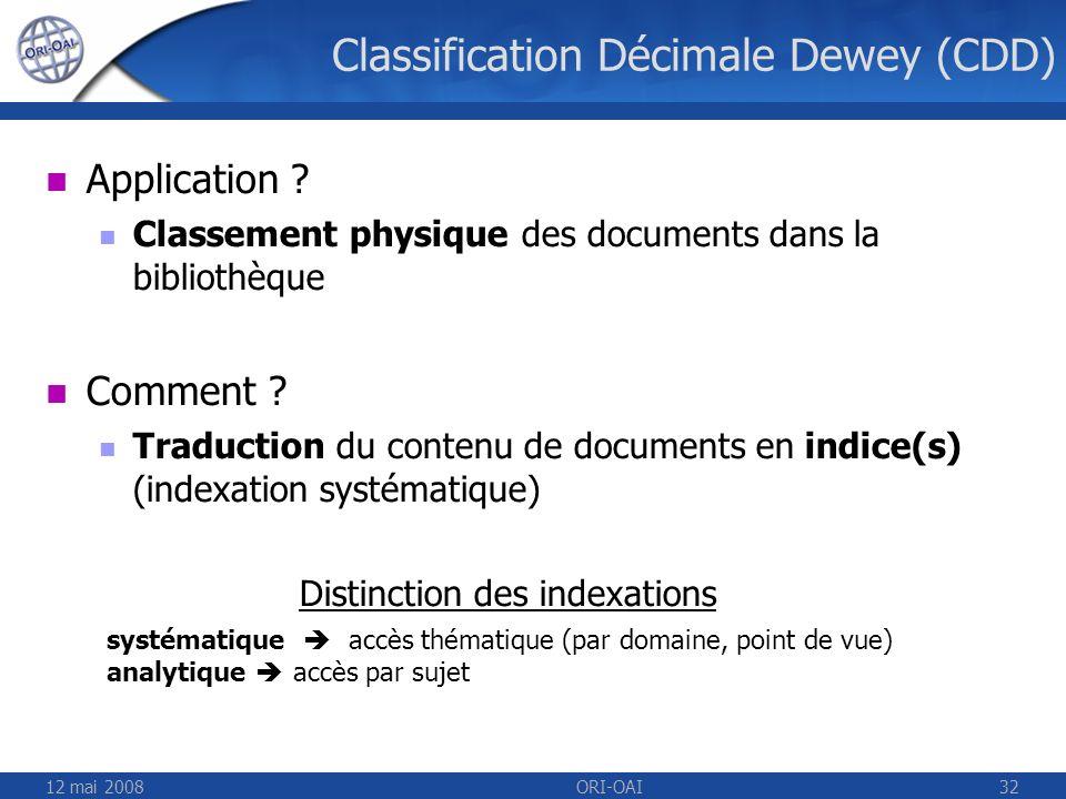 12 mai 2008ORI-OAI32 Classification Décimale Dewey (CDD) Application ? Classement physique des documents dans la bibliothèque Comment ? Traduction du