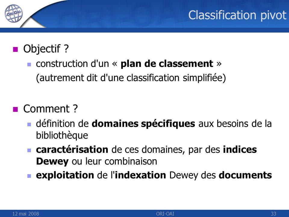 12 mai 2008ORI-OAI33 Classification pivot Objectif ? construction d'un « plan de classement » (autrement dit d'une classification simplifiée) Comment