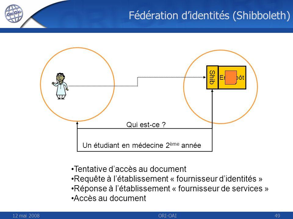 12 mai 2008ORI-OAI49 Fédération didentités (Shibboleth) Entrepôt Shib Qui est-ce ? Un étudiant en médecine 2 ème année Tentative daccès au document Re
