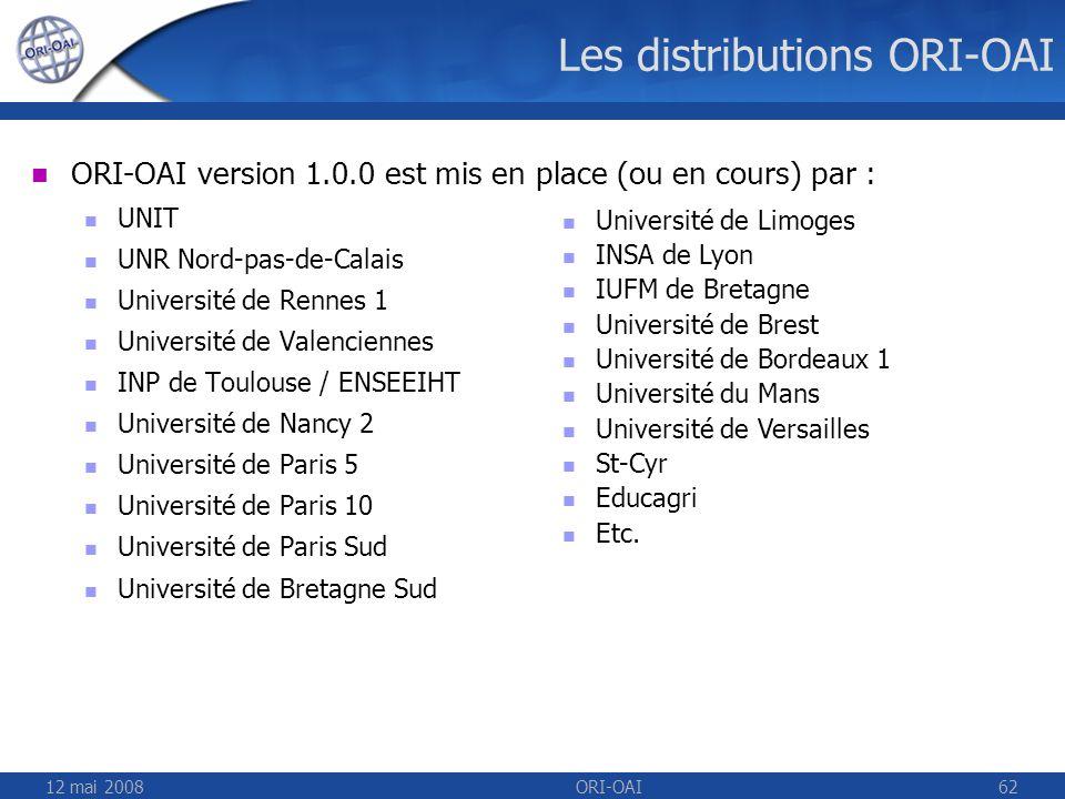 12 mai 2008ORI-OAI62 Les distributions ORI-OAI ORI-OAI version 1.0.0 est mis en place (ou en cours) par : UNIT UNR Nord-pas-de-Calais Université de Re