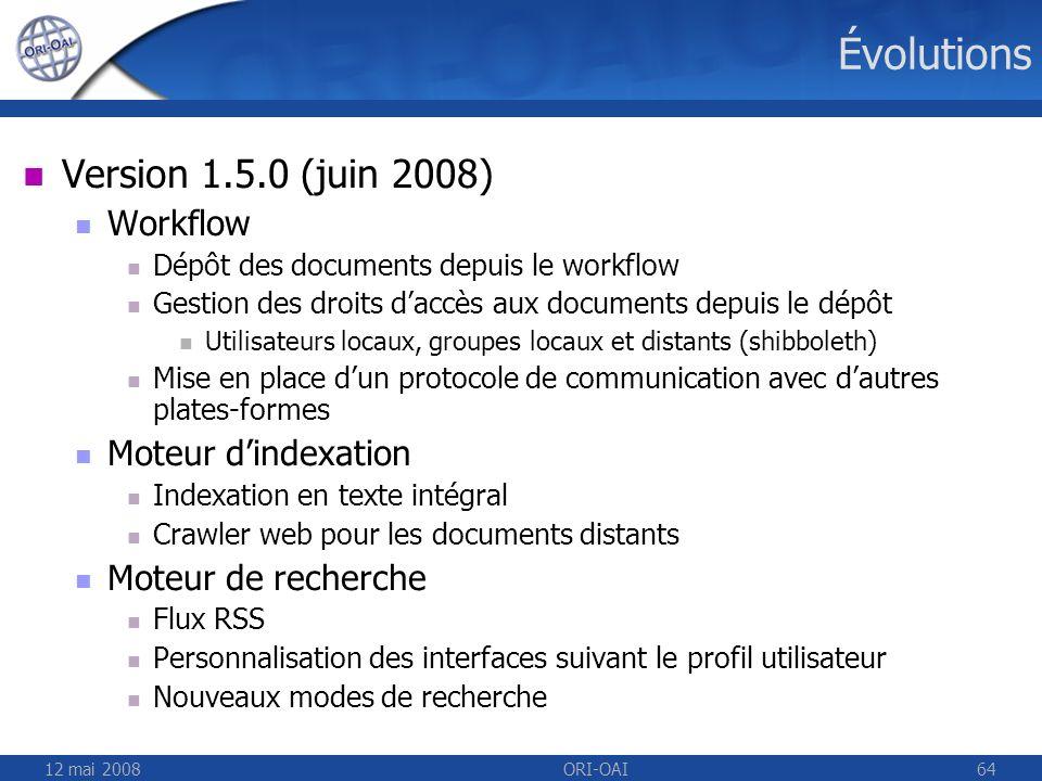 12 mai 2008ORI-OAI64 Évolutions Version 1.5.0 (juin 2008) Workflow Dépôt des documents depuis le workflow Gestion des droits daccès aux documents depu