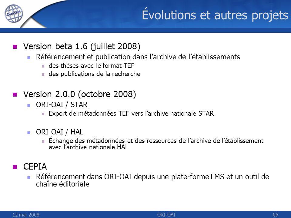 12 mai 2008ORI-OAI66 Évolutions et autres projets Version beta 1.6 (juillet 2008) Référencement et publication dans larchive de létablissements des th