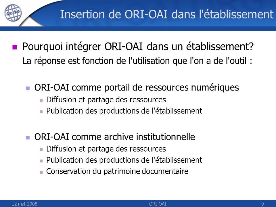12 mai 2008ORI-OAI9 Insertion de ORI-OAI dans l'établissement Pourquoi intégrer ORI-OAI dans un établissement? La réponse est fonction de l'utilisatio