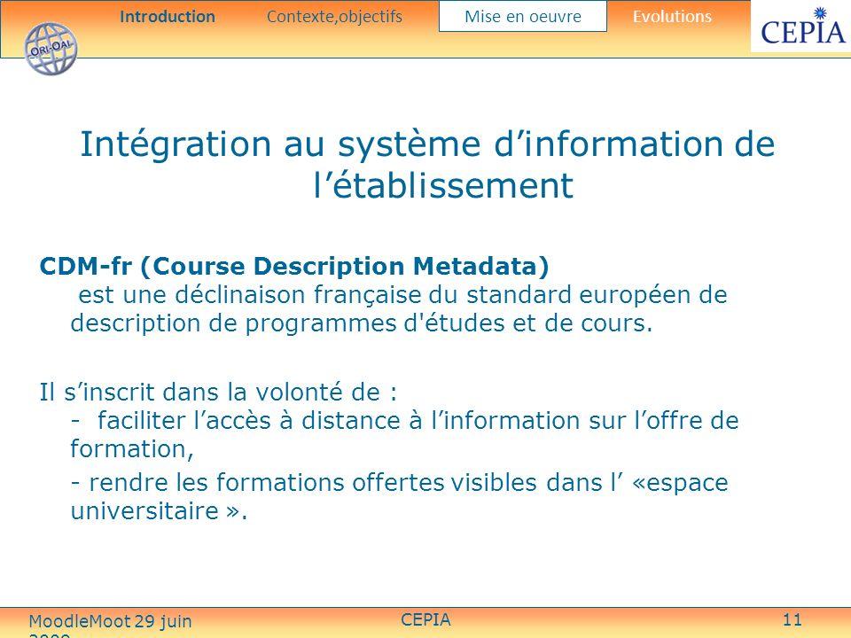 CEPIA11 Intégration au système dinformation de létablissement CDM-fr (Course Description Metadata) est une déclinaison française du standard européen de description de programmes d études et de cours.