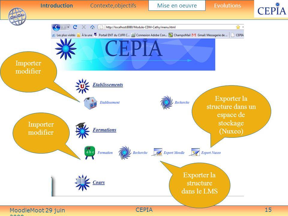 CEPIA15 Importer modifier Exporter la structure dans un espace de stockage (Nuxeo) Exporter la structure dans le LMS Importer modifier IntroductionContexte,objectifs Mise en oeuvre Evolutions MoodleMoot 29 juin 2009