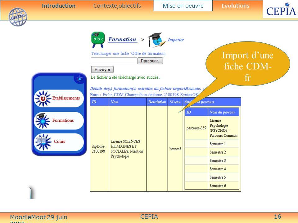 CEPIA16 Import dune fiche CDM- fr IntroductionContexte,objectifs Mise en oeuvre Evolutions MoodleMoot 29 juin 2009