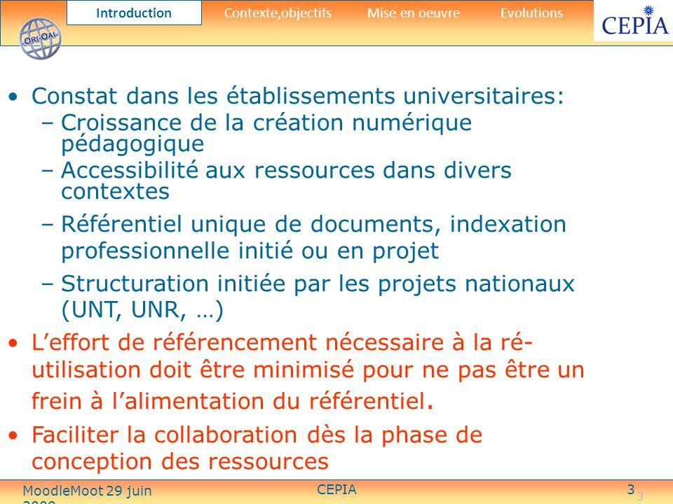 CEPIA14 Intégration au SI de létablissement IntroductionContexte,objectifs Mise en oeuvre Evolutions MoodleMoot 29 juin 2009