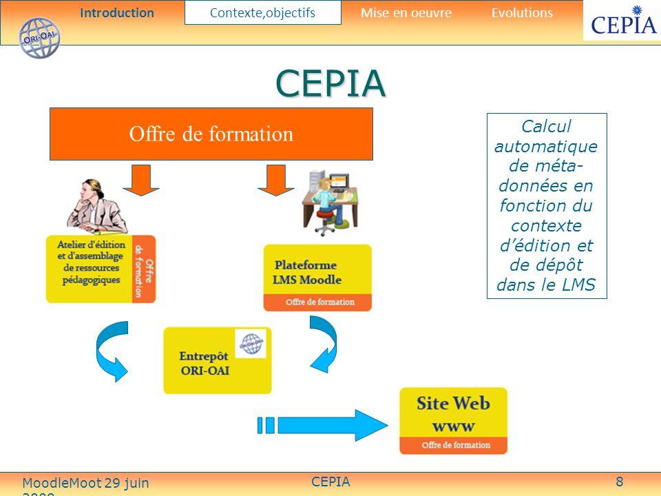 CEPIA8 Offre de formation CEPIA Calcul automatique de méta- données en fonction du contexte dédition et de dépôt dans le LMS Introduction Contexte,objectifs Mise en oeuvreEvolutions MoodleMoot 29 juin 2009