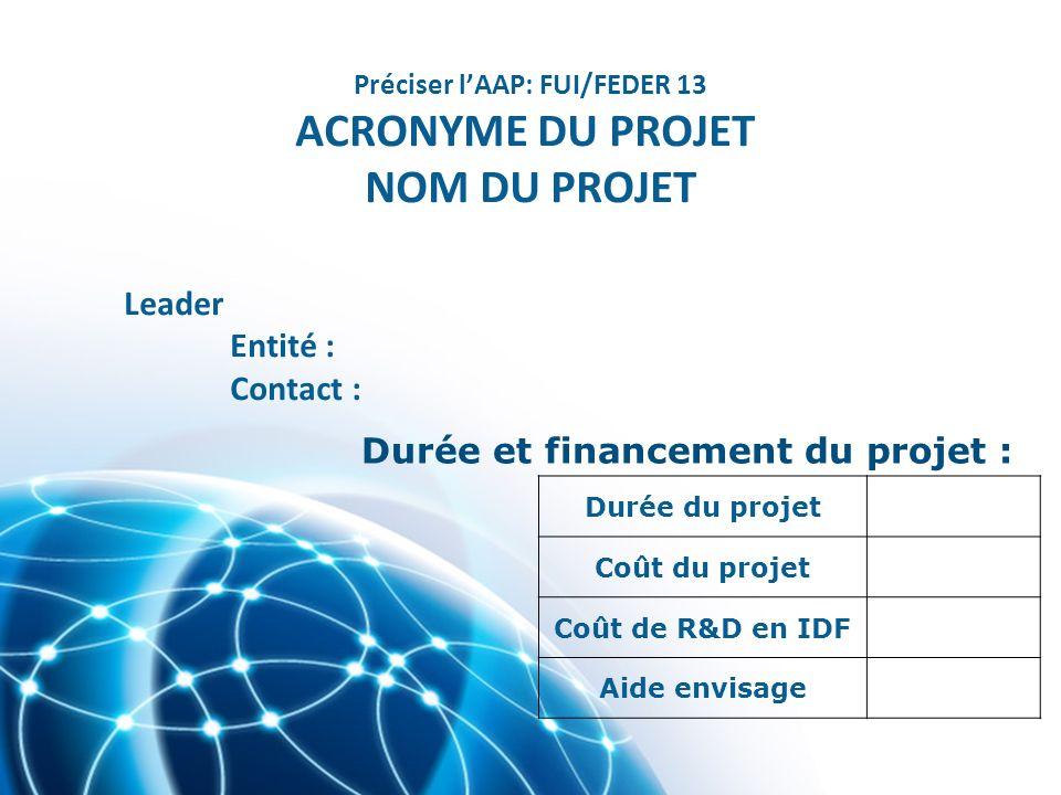 Durée du projet Coût du projet Coût de R&D en IDF Aide envisage Durée et financement du projet : Préciser lAAP: FUI/FEDER 13 ACRONYME DU PROJET NOM DU