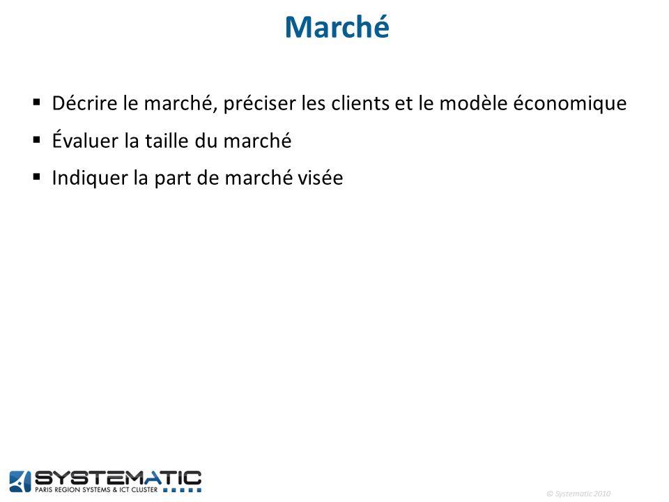 © Systematic 2010 Marché Décrire le marché, préciser les clients et le modèle économique Évaluer la taille du marché Indiquer la part de marché visée