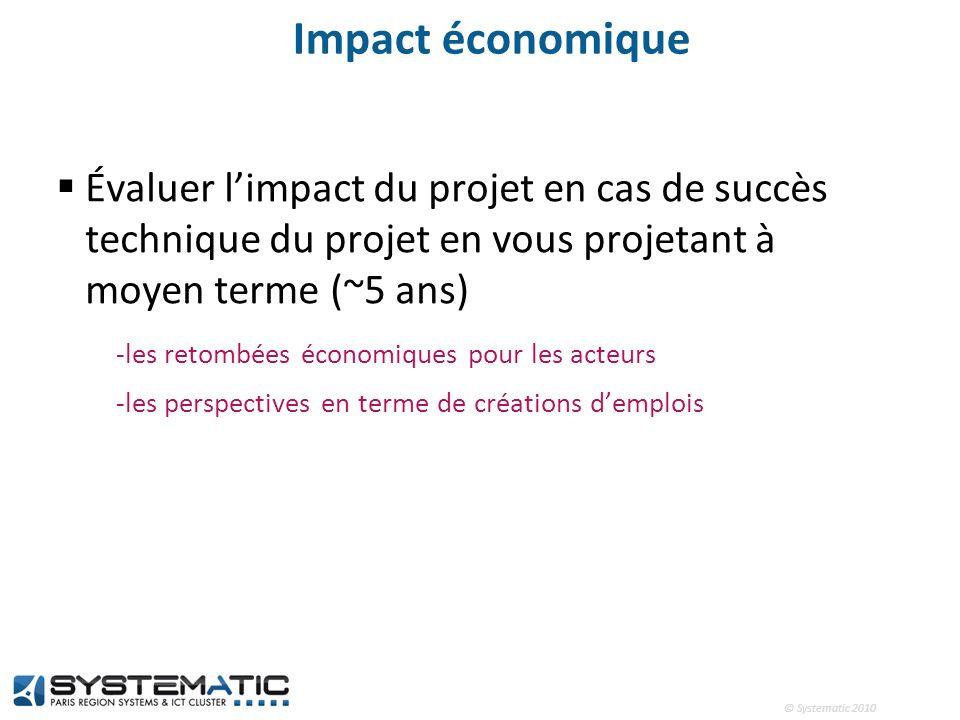 © Systematic 2010 Impact économique Évaluer limpact du projet en cas de succès technique du projet en vous projetant à moyen terme (~5 ans) -les retom