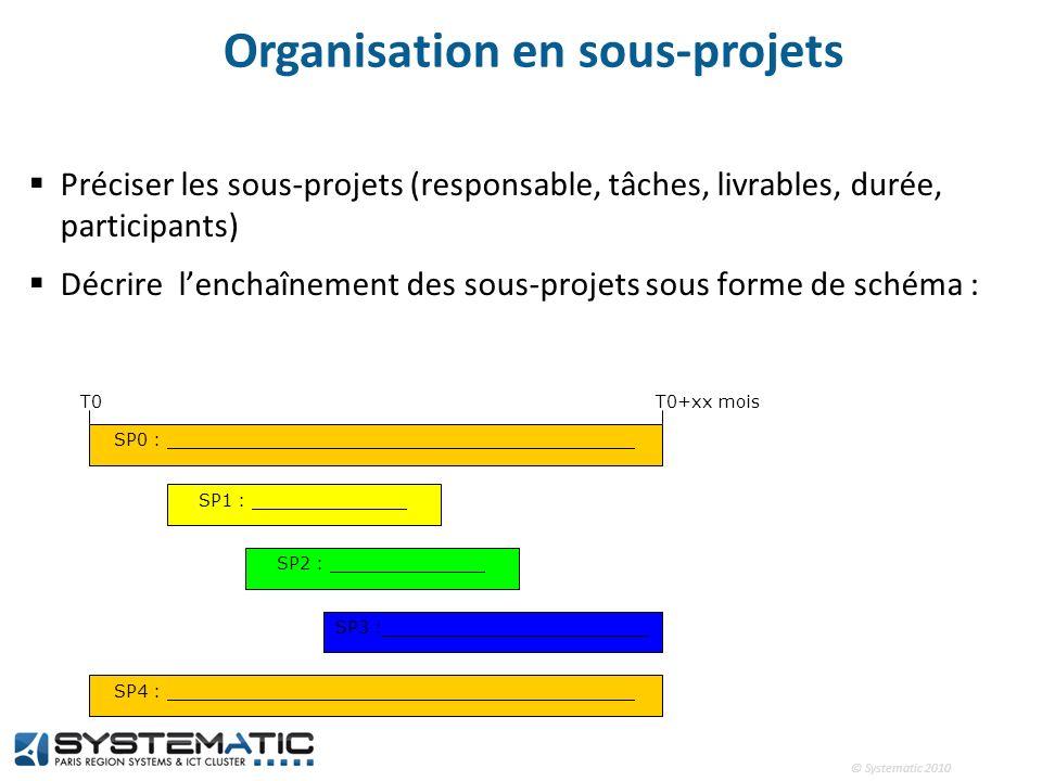 © Systematic 2010 Organisation en sous-projets Préciser les sous-projets (responsable, tâches, livrables, durée, participants) Décrire lenchaînement d