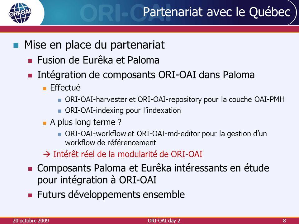 Partenariat avec le Québec Mise en place du partenariat Fusion de Eurêka et Paloma Intégration de composants ORI-OAI dans Paloma Effectué ORI-OAI-harvester et ORI-OAI-repository pour la couche OAI-PMH ORI-OAI-indexing pour lindexation A plus long terme .