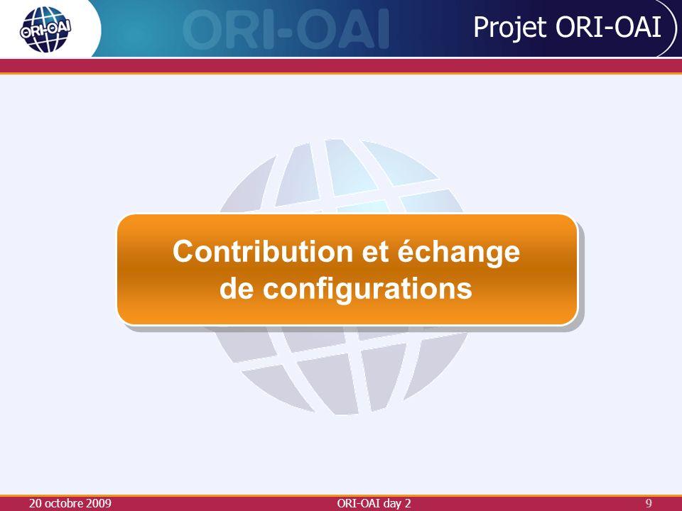 20 octobre 2009ORI-OAI day 29 9 Projet ORI-OAI Contribution et échange de configurations Contribution et échange de configurations