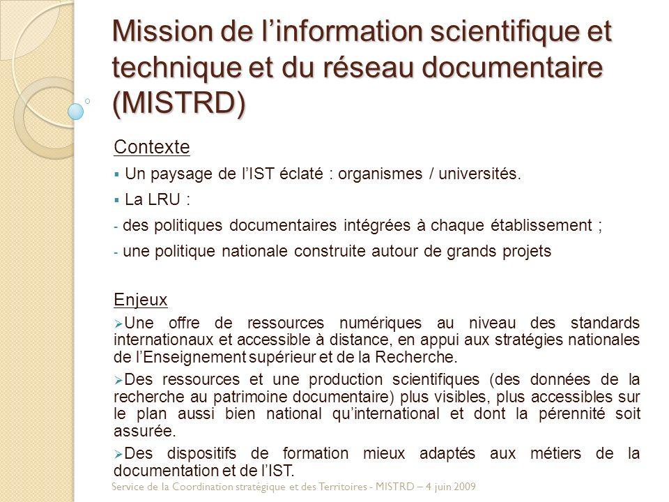 Mission de linformation scientifique et technique et du réseau documentaire (MISTRD) Contexte Un paysage de lIST éclaté : organismes / universités.