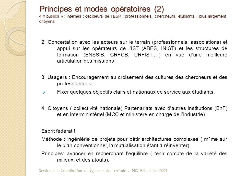 Principes et modes opératoires (2) 4 « publics » : internes ; décideurs de lESR ; professionnels, chercheurs, étudiants ; plus largement citoyens 2.