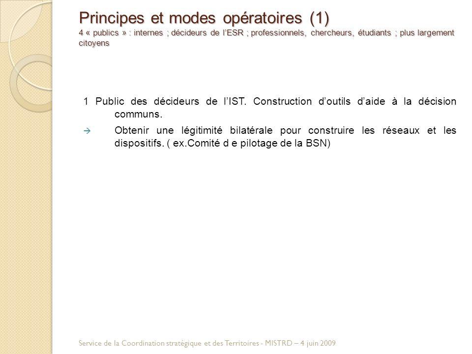 Principes et modes opératoires (1) 4 « publics » : internes ; décideurs de lESR ; professionnels, chercheurs, étudiants ; plus largement citoyens 1 Public des décideurs de lIST.