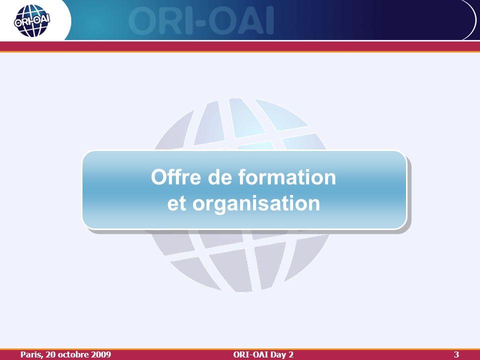 Paris, 20 octobre 2009ORI-OAI Day 23 Offre de formation et organisation Offre de formation et organisation
