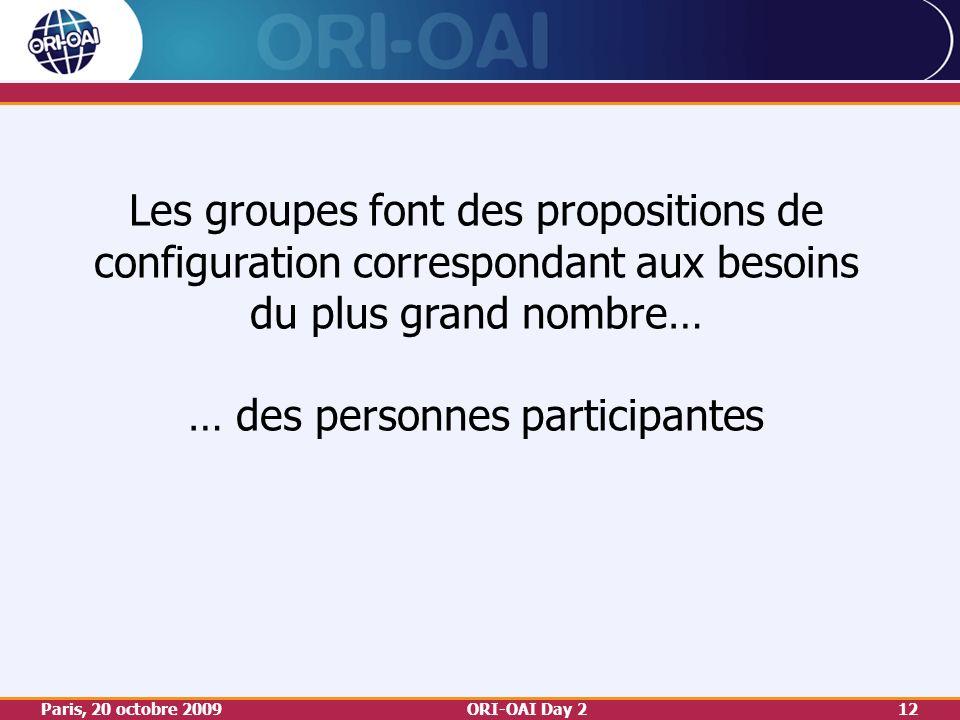 Paris, 20 octobre 2009ORI-OAI Day 212 Les groupes font des propositions de configuration correspondant aux besoins du plus grand nombre… … des personnes participantes