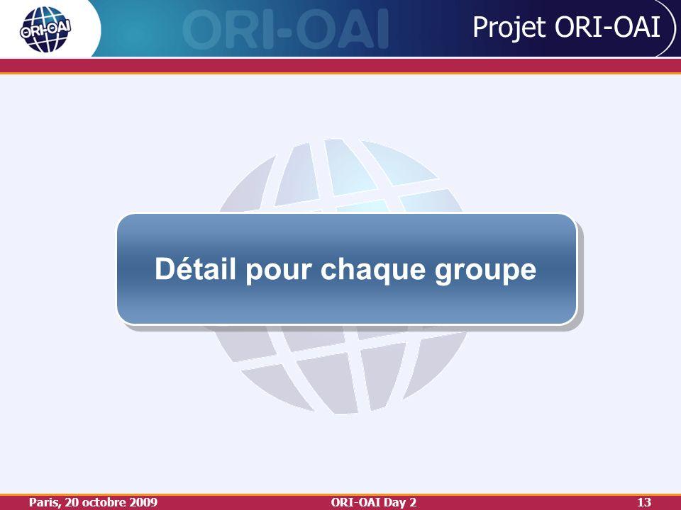 Paris, 20 octobre 2009ORI-OAI Day 213 Projet ORI-OAI Détail pour chaque groupe