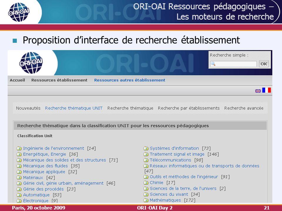 Paris, 20 octobre 2009ORI-OAI Day 221 ORI-OAI Ressources pédagogiques – Les moteurs de recherche Proposition dinterface de recherche établissement