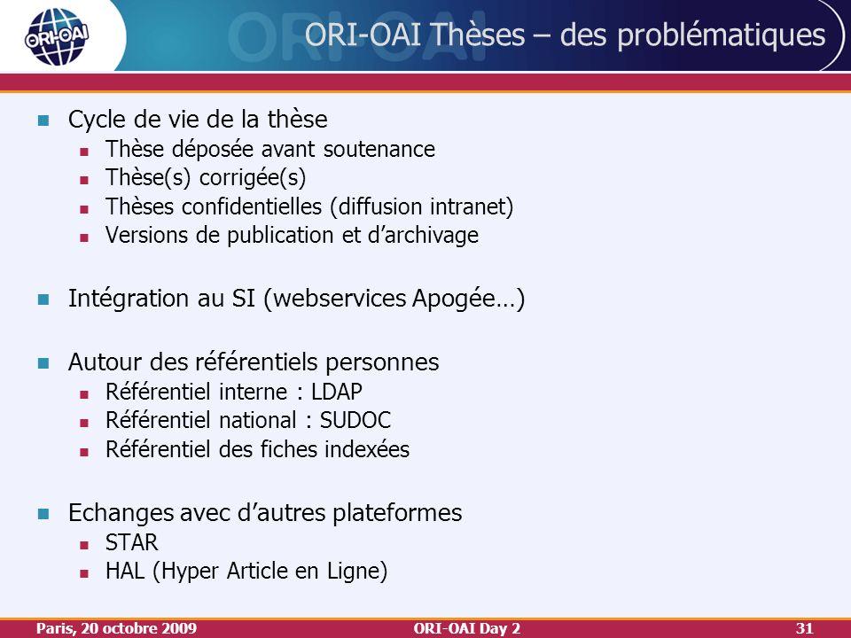 Paris, 20 octobre 2009ORI-OAI Day 231 ORI-OAI Thèses – des problématiques Cycle de vie de la thèse Thèse déposée avant soutenance Thèse(s) corrigée(s) Thèses confidentielles (diffusion intranet) Versions de publication et darchivage Intégration au SI (webservices Apogée…) Autour des référentiels personnes Référentiel interne : LDAP Référentiel national : SUDOC Référentiel des fiches indexées Echanges avec dautres plateformes STAR HAL (Hyper Article en Ligne)