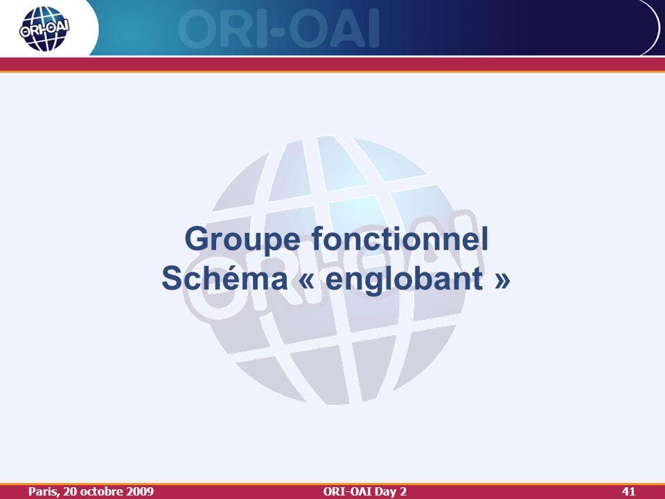 Paris, 20 octobre 2009ORI-OAI Day 241 Groupe fonctionnel Schéma « englobant »