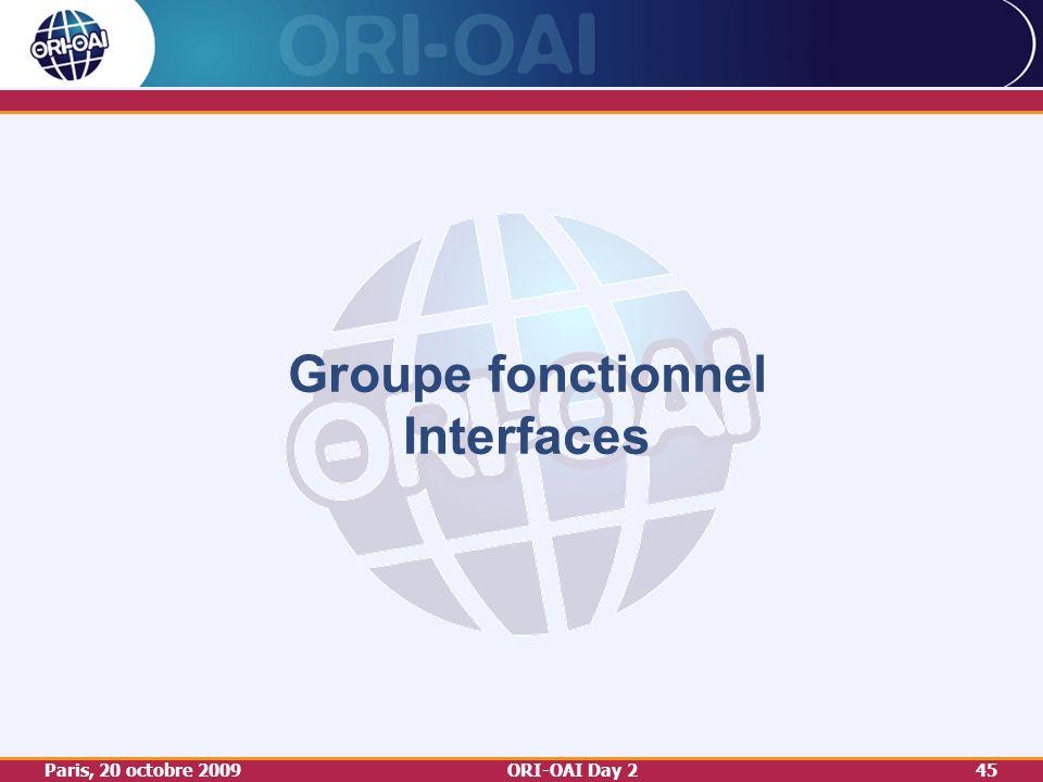 Paris, 20 octobre 2009ORI-OAI Day 245 Groupe fonctionnel Interfaces