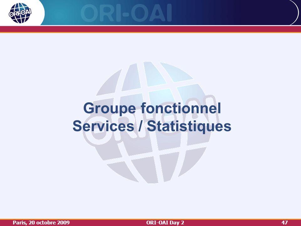 Paris, 20 octobre 2009ORI-OAI Day 247 Groupe fonctionnel Services / Statistiques