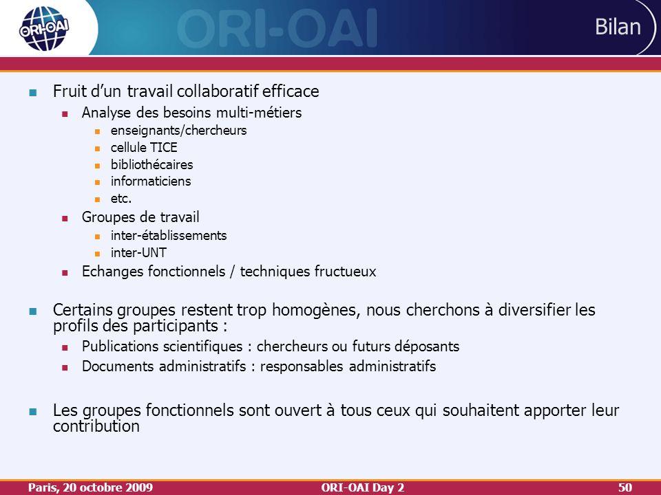 Paris, 20 octobre 2009ORI-OAI Day 250 Bilan Fruit dun travail collaboratif efficace Analyse des besoins multi-métiers enseignants/chercheurs cellule TICE bibliothécaires informaticiens etc.