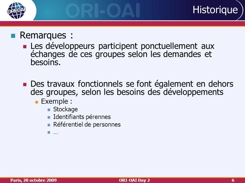 Paris, 20 octobre 2009ORI-OAI Day 26 Historique Remarques : Les développeurs participent ponctuellement aux échanges de ces groupes selon les demandes et besoins.